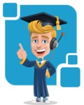 Graduate Student Cartoon Vector Character AKA Greg the Graduate Boy - Shape 9