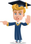 Graduate Student Cartoon Vector Character AKA Greg the Graduate Boy - Direct Attencion