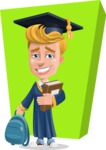 Graduate Student Cartoon Vector Character AKA Greg the Graduate Boy - Shape 10