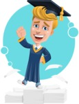 Graduate Student Cartoon Vector Character AKA Greg the Graduate Boy - Shape 11