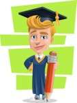 Graduate Student Cartoon Vector Character AKA Greg the Graduate Boy - Shape 12