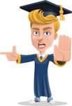Graduate Student Cartoon Vector Character AKA Greg the Graduate Boy - Direct Attention 2