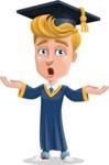Graduate Student Cartoon Vector Character AKA Greg the Graduate Boy - Shocked