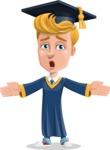 Graduate Student Cartoon Vector Character AKA Greg the Graduate Boy - Lost