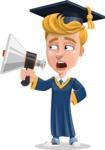Graduate Student Cartoon Vector Character AKA Greg the Graduate Boy - Loudspeaker