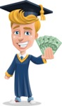 Graduate Student Cartoon Vector Character AKA Greg the Graduate Boy - Show me the Money