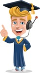 Graduate Student Cartoon Vector Character AKA Greg the Graduate Boy - Support 2