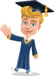 Graduate Student Cartoon Vector Character AKA Greg the Graduate Boy - Wave