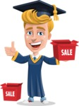 Graduate Student Cartoon Vector Character AKA Greg the Graduate Boy - Sale