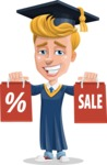 Graduate Student Cartoon Vector Character AKA Greg the Graduate Boy - Sale 2
