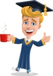 Graduate Student Cartoon Vector Character AKA Greg the Graduate Boy - Coffee