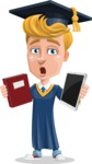 Graduate Student Cartoon Vector Character AKA Greg the Graduate Boy - Book and iPad