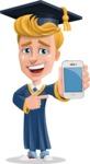 Graduate Student Cartoon Vector Character AKA Greg the Graduate Boy - iPhone