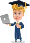 Graduate Student Cartoon Vector Character AKA Greg the Graduate Boy - Laptop 1