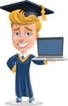 Graduate Student Cartoon Vector Character AKA Greg the Graduate Boy - Laptop 2