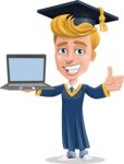 Graduate Student Cartoon Vector Character AKA Greg the Graduate Boy - Laptop 3