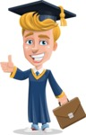 Graduate Student Cartoon Vector Character AKA Greg the Graduate Boy - Briefcase 2