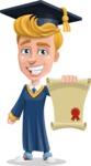 Graduate Student Cartoon Vector Character AKA Greg the Graduate Boy - Diploma