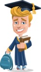 Graduate Student Cartoon Vector Character AKA Greg the Graduate Boy - Books and Backpack