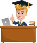 Graduate Student Cartoon Vector Character AKA Greg the Graduate Boy - Study