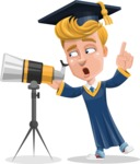 Graduate Student Cartoon Vector Character AKA Greg the Graduate Boy - Telescope