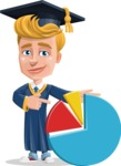 Graduate Student Cartoon Vector Character AKA Greg the Graduate Boy - Chart