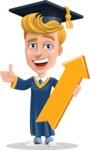 Graduate Student Cartoon Vector Character AKA Greg the Graduate Boy - Pointer 1