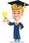 Graduate Student Cartoon Vector Character AKA Greg the Graduate Boy - Idea