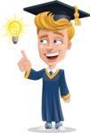 Graduate Student Cartoon Vector Character AKA Greg the Graduate Boy - Idea 2