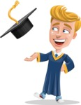 Graduate Student Cartoon Vector Character AKA Greg the Graduate Boy - Graduation Cap