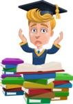 Graduate Student Cartoon Vector Character AKA Greg the Graduate Boy - Study 2