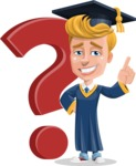 Graduate Student Cartoon Vector Character AKA Greg the Graduate Boy - Question