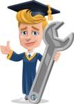 Graduate Student Cartoon Vector Character AKA Greg the Graduate Boy - Repair