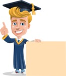 Graduate Student Cartoon Vector Character AKA Greg the Graduate Boy - Sign 7