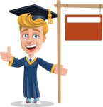 Graduate Student Cartoon Vector Character AKA Greg the Graduate Boy - Sign 9