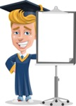 Graduate Student Cartoon Vector Character AKA Greg the Graduate Boy - Presentation 1