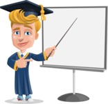 Graduate Student Cartoon Vector Character AKA Greg the Graduate Boy - Presentation 2
