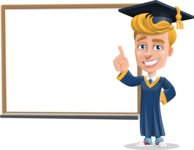 Graduate Student Cartoon Vector Character AKA Greg the Graduate Boy - Presentation 3