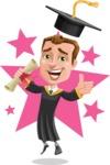Male College Graduate Cartoon Vector Character AKA Tyler - Shape 6