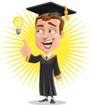 Male College Graduate Cartoon Vector Character AKA Tyler - Shape 8