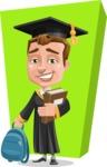 Male College Graduate Cartoon Vector Character AKA Tyler - Shape 10