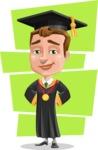 Male College Graduate Cartoon Vector Character AKA Tyler - Shape 12
