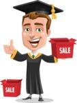 Male College Graduate Cartoon Vector Character AKA Tyler - Sale