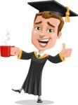 Male College Graduate Cartoon Vector Character AKA Tyler - Coffee