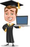 Male College Graduate Cartoon Vector Character AKA Tyler - Laptop 2