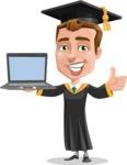 Male College Graduate Cartoon Vector Character AKA Tyler - Laptop 3