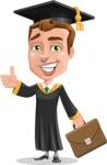 Male College Graduate Cartoon Vector Character AKA Tyler - Briefcase 2