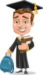 Male College Graduate Cartoon Vector Character AKA Tyler - Books and Backpack