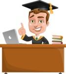 Male College Graduate Cartoon Vector Character AKA Tyler - Study