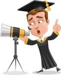 Male College Graduate Cartoon Vector Character AKA Tyler - Telescope